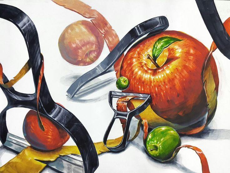 사과 감자깎이 개체표현 기초디자인 인천 아이엠 미술학원 학T