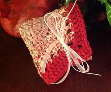 Crochet dishcloth, #kitchencloth, #handmadepotholder, red, tan, sets by #OnceUponARoll for $10.80