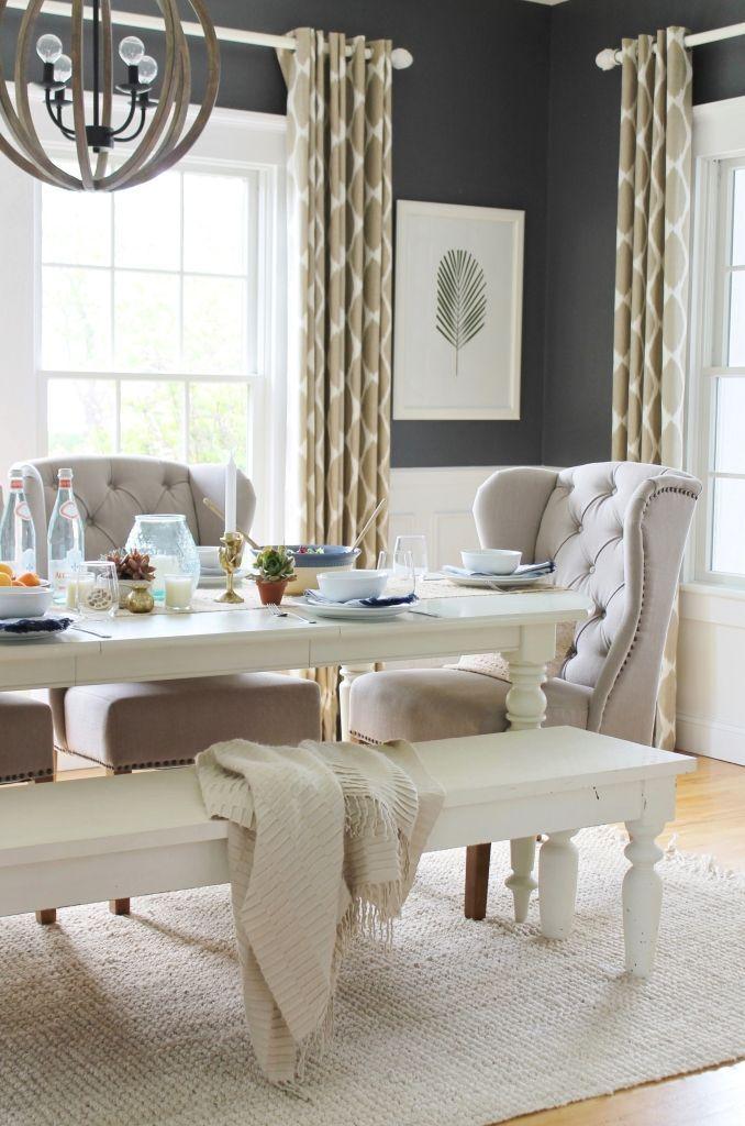 Summer Tour Dining Room Linen Tufted Chairs Palm Leaf DIY Art Ikat Farmhouse TablesCity FarmhouseUrban