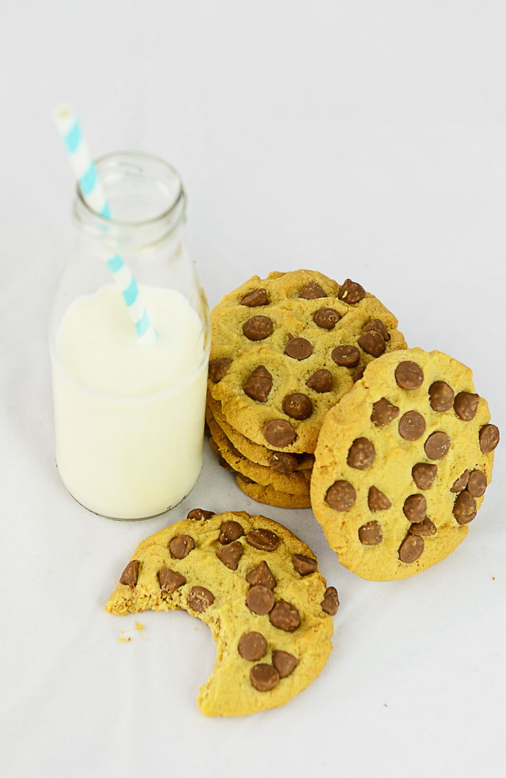 Milk and Cookies. Made from Sweet Health Choc Chip Cookie Mix Milk Bottle Mixers.