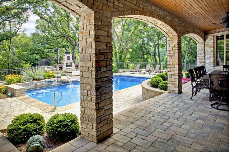 Walk Out Basement in Oak Brook IL with Pool & Outdoor Fireplace. By  Southampton Builders