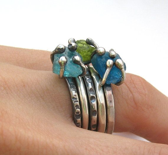 Scrollwork Designs.  Sterling silver and rough apatite and turmaline