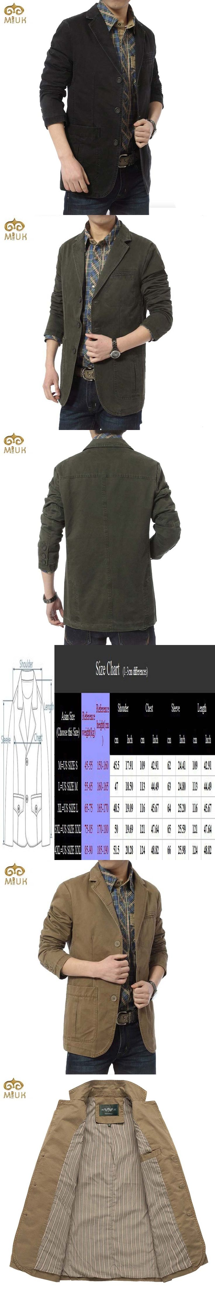 MIUK Brand New blazer Men Casual Blazer Cotton Denim Parka Men's Slim Fit Jackets Army Green Khaki Black Large Size M -XXXXL