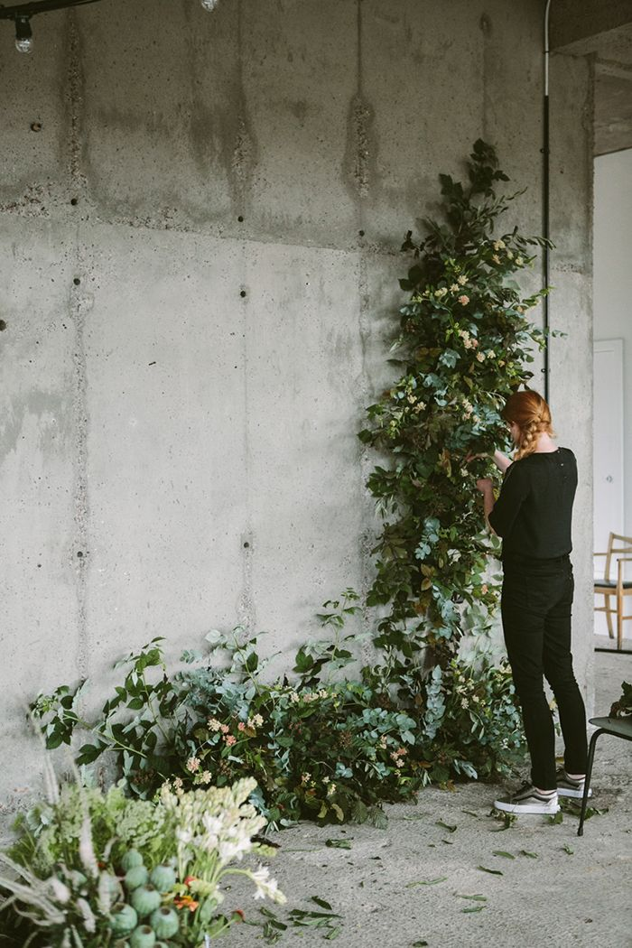"""Bringing nature inside has always fascinated me. Floral arrangements that blend with wallpaper, enormous branches in unexpected corners of rooms, or humble single stems mixed amongst collected objects on a shelf. I'm continuously obsessed with how flowers interact with their environment. I was recently asked to create a floral installation along these lines for an event...."" Via DesignSponge"