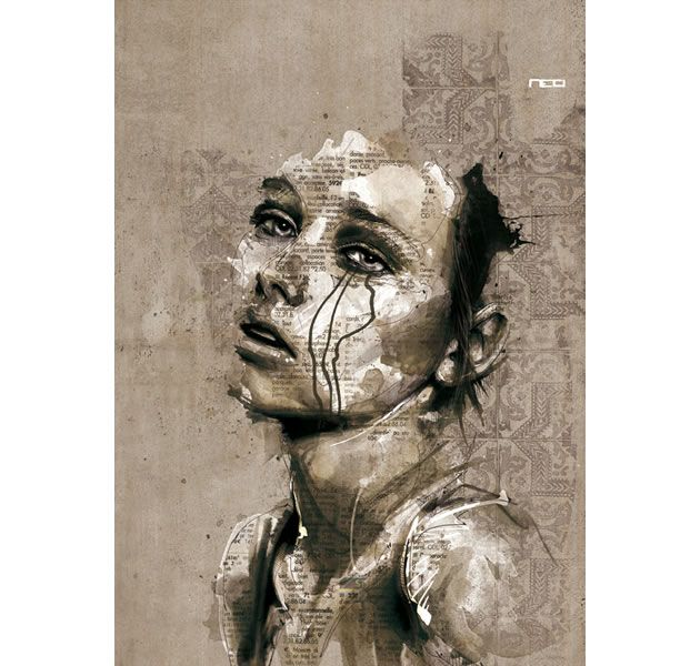 Florian Nicolle is a French graphic designer who has produced a collection of beautiful mixed media illustrations: a combination of dripped paint, newspaper overlays, line drawings and washes of tone.