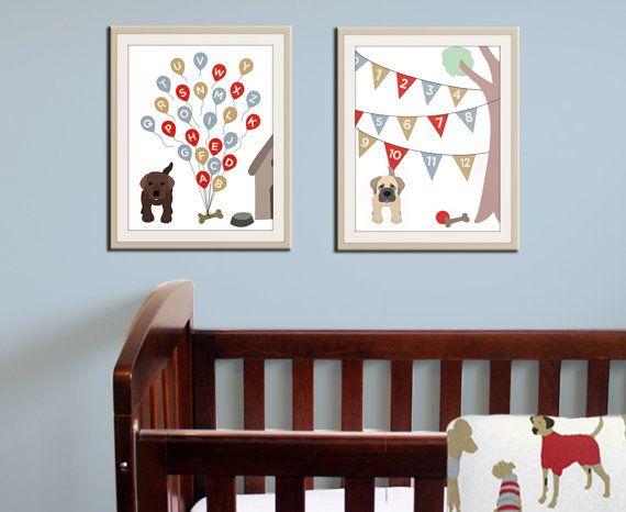 Baby nursery art print. Dog ABC nursery decor. Alphabet print, ABC print, number print childrens art. Set of 2 11x14 prints by WallFry on Etsy, $45.00