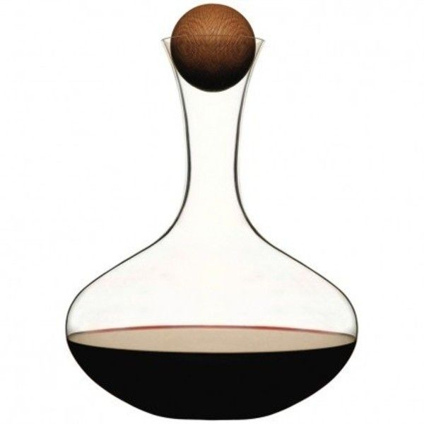 Red Wine Carafe With Oak Stopper ($32) ❤ liked on Polyvore featuring home, kitchen & dining, bar tools, wine aerator, wine stoppers and wine carafe