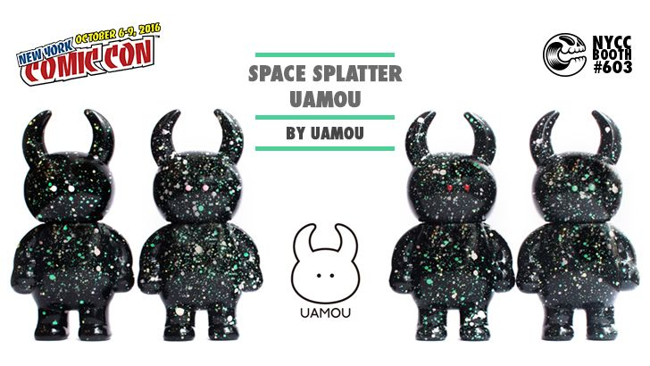 "Standing at approximately 2.75"" tall, these galactic Uamou are as black as the space horizon, sprinkled with green and white paint splatters. Each figure is one-of-a-kind, with varying eye colors and unique splatter star formations."