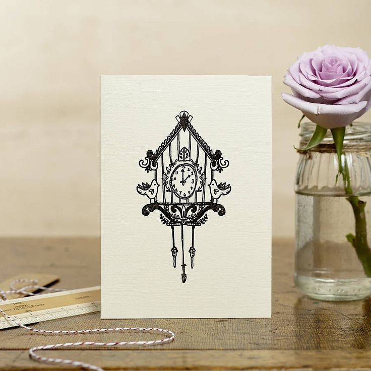 hand printed cuckoo clock card by katie leamon | notonthehighstreet.com
