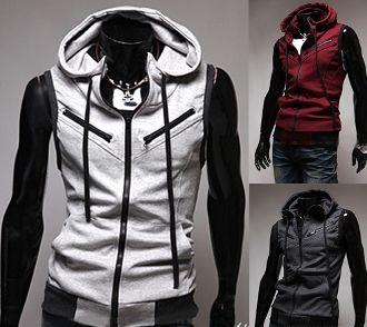 Men's Sleeveless Hoodie with Zipper Details