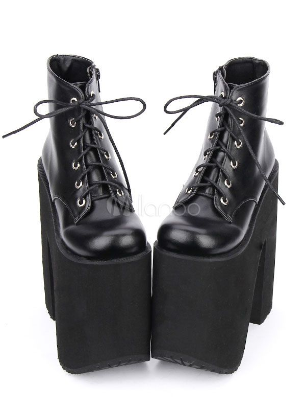 bdf9faa2c3e Black Lolita Booties Platform Chunky Heel Round Toe Lace Up Lolita ...