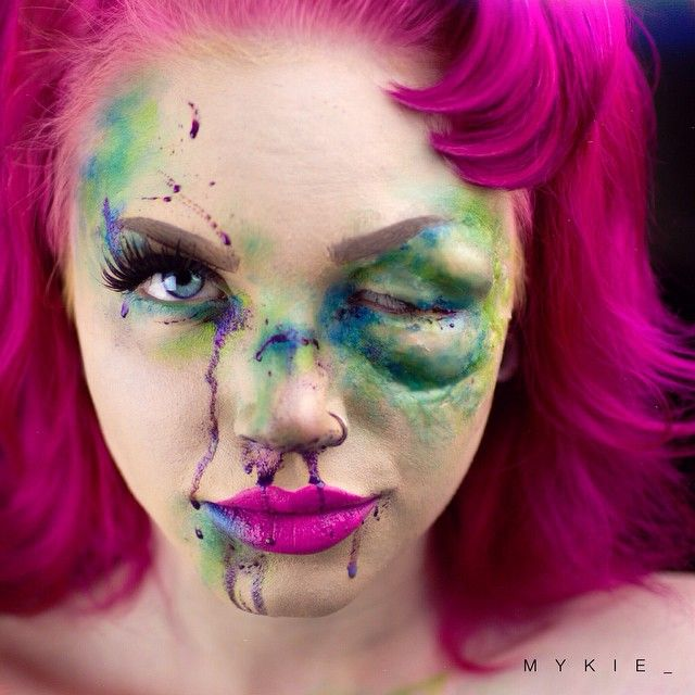 Who says bruises can't be blue and green and blood can't be purple?!?!? I mean like, besides science. With all your amazing contest entries you've inspired me to do a new glam&gore look of my own. Talk about a beat face. Products are: @morphebrushes 35B palette @meltcosmetics shady lady @anastasiabeverlyhills Dipbrow Chocolate @flutterlashesinc Vanessa