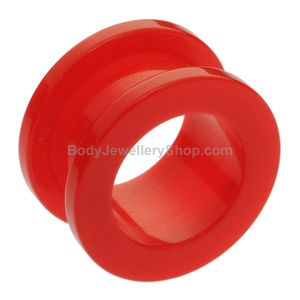 Neon Colour Flesh Tunnel - Red- Buy Jewellery