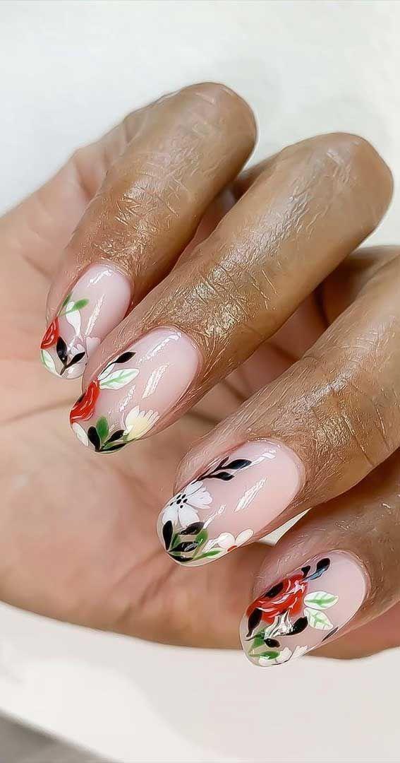 57 أفكار جميلة للأظافر فن الأظافر المحب للجميع مسامير الأزهار Floral Nails Floral Nail Designs Pretty Nails