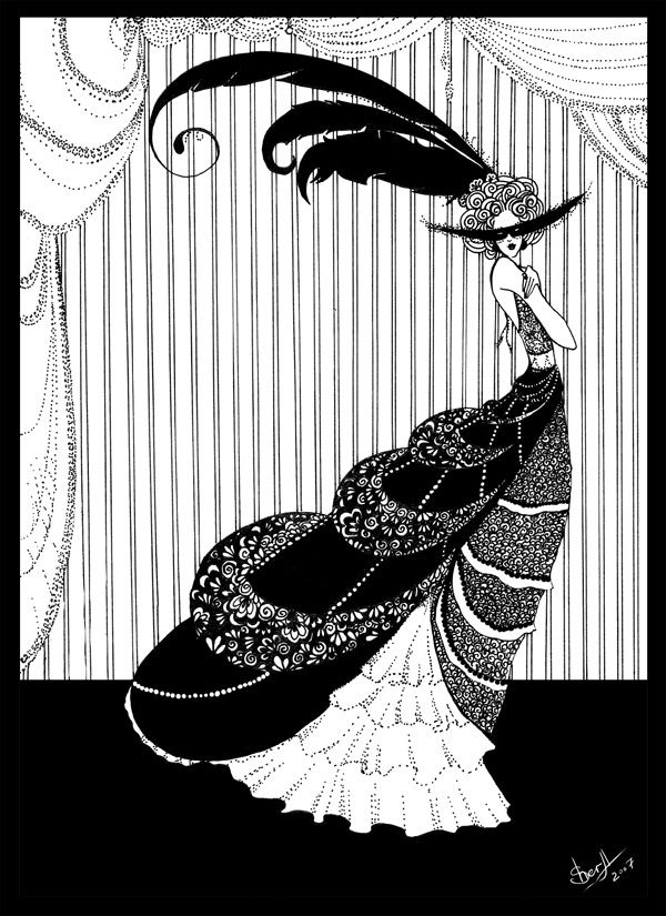 "Aubrey Beardsley (1872-1898) was a fascinating figure in the late 1960s to early '70s, possibly because of the hippie movement's interest in Art Nouveau/Art Deco artifacts as ""camp"".  A book published in 1969, ""Black & White: A Portrait of Aubrey Beardsley"", no doubt had an influence."