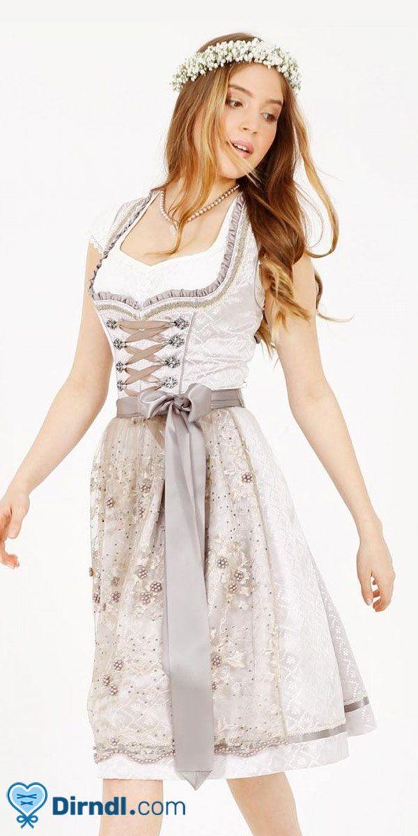 a5a7165a298770 Mini Krüger Dirndl Nena in Silber & Grau mit zarter Perlenschürze passend  zum Oktoberfest oder zur Maidult - von dirndl.com #dirndl