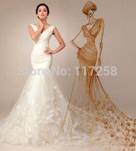 Свадебное платье тонкая талия принцесса сладкий обновления поезд свадебное платье рыбий хвост вечернее платье Freeshipping