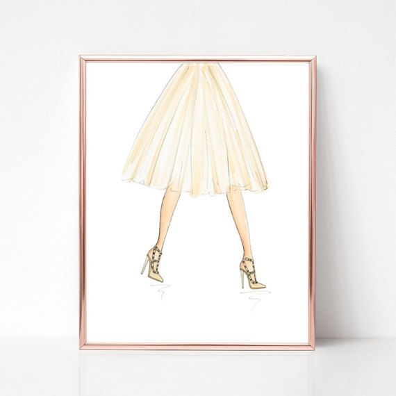 Strut your rock studs, fashion illustration print, art print, sketch, croquis,
