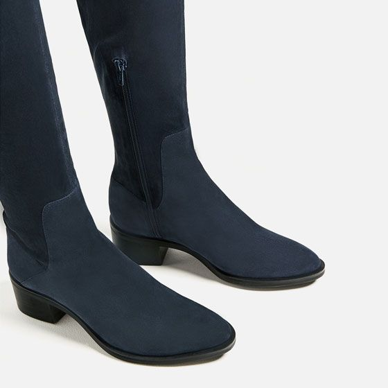 Image 5 of STRETCH FLAT LEATHER BOOTS from Zara