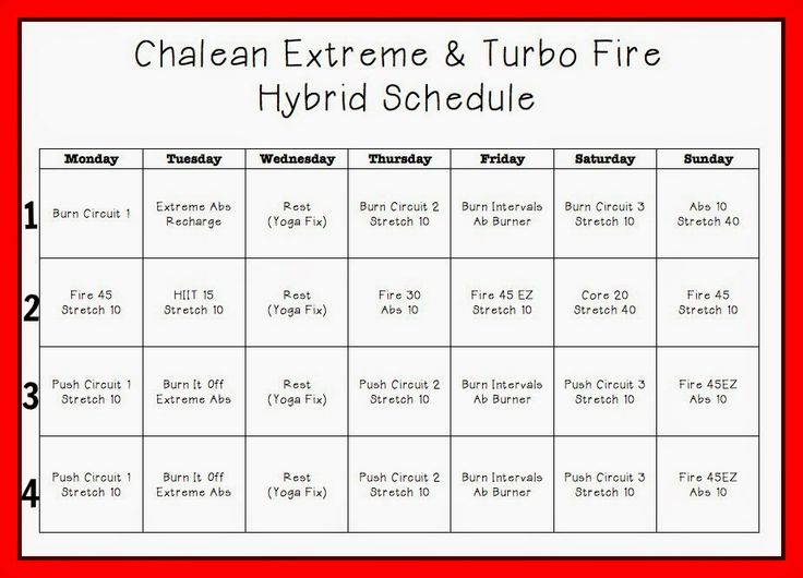 Feeling Fit: Chalean Extreme & Turbo Fire Hybrid Schedule | Exercise ...