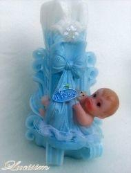 Vyřezávaná svíčka k narození dítěte - chlapeček