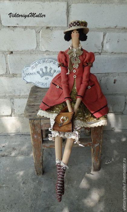 кукла тильда ручной работы купить тильду подарок подруге винтажный стиль дама в шляпе интерьерная кукла барышня
