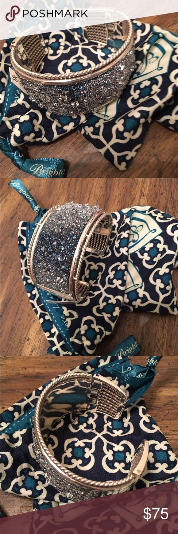 Brighton blue gem silver cuff bracelet Brighton silver blue gem cuff bracelet Brighton Jewelry Bracelets