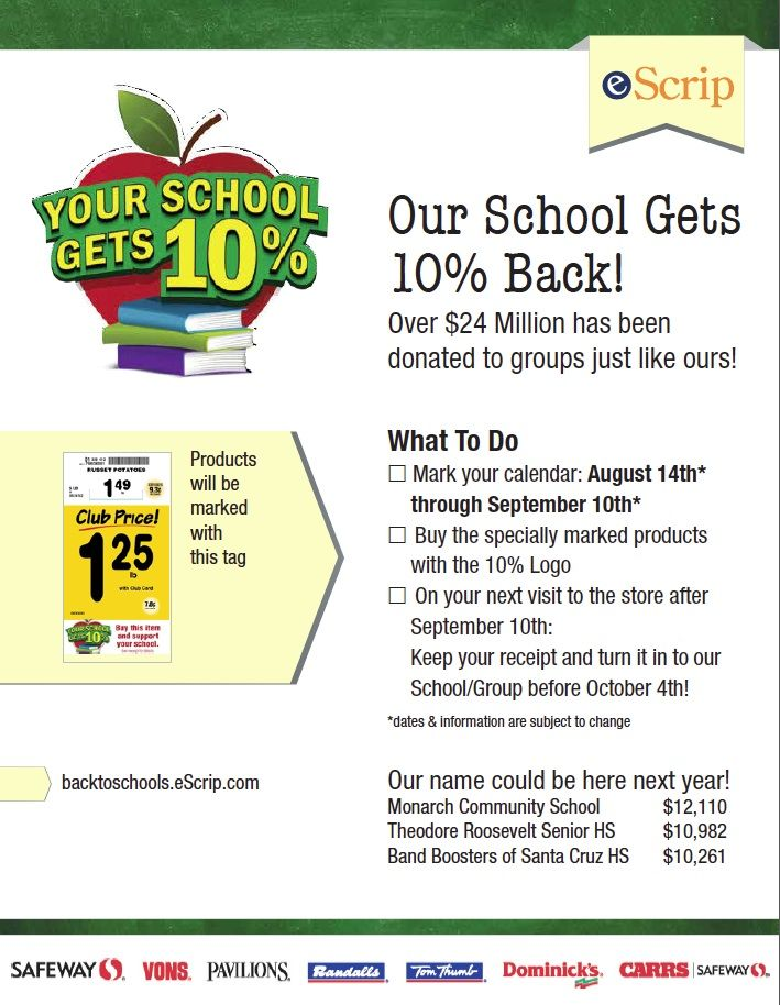 Please consider supporting Our Lady of Malibu School through eScrip's 10% Back to Schools Program...