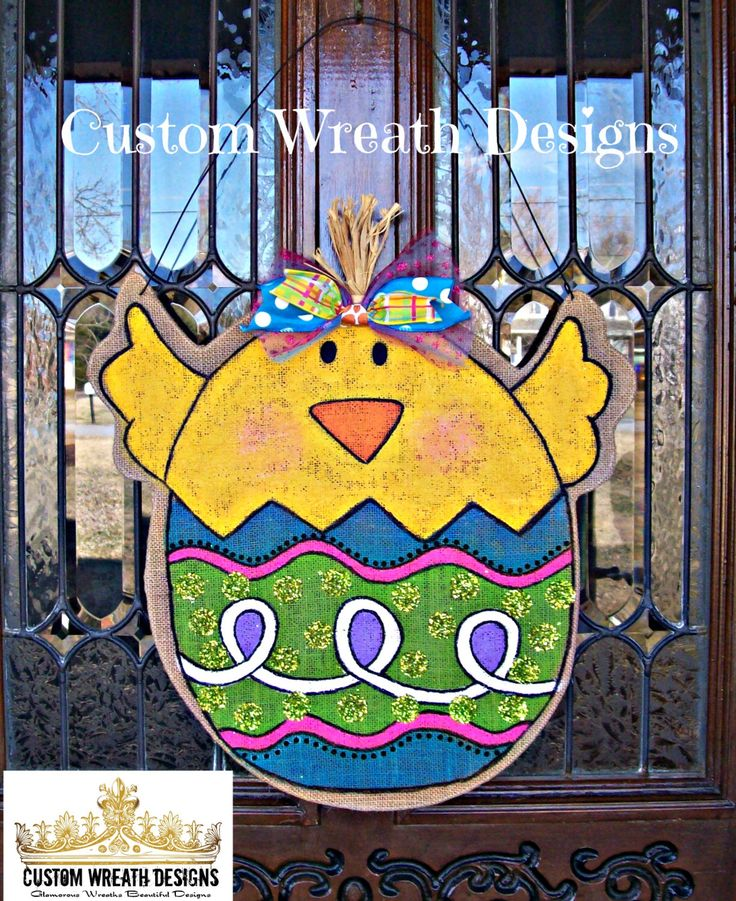 A personal favorite from my Etsy shop https://www.etsy.com/listing/178349523/burlap-easter-chick-door-hanging
