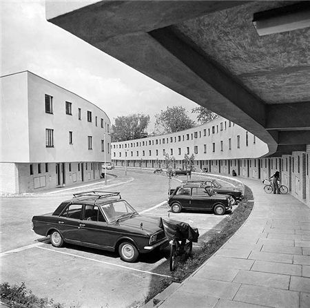A view of the sweeping curve of Penderyn Way in Tufnell Park, north London. 1970s