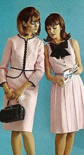 1960s fashion vintage style pale pink suit dress jacket skirt black trim bow ric rac models purse print ad day wear office secretary