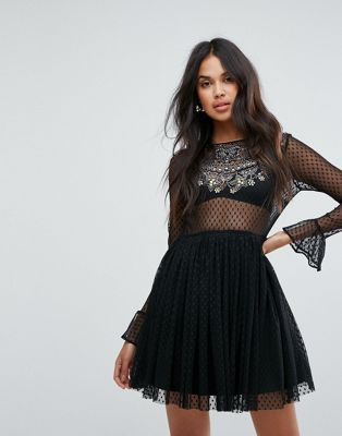 e0976316 ASOS Embellished Dobby Mesh Trim Tulle Skater Mini Dress | Dress me ...