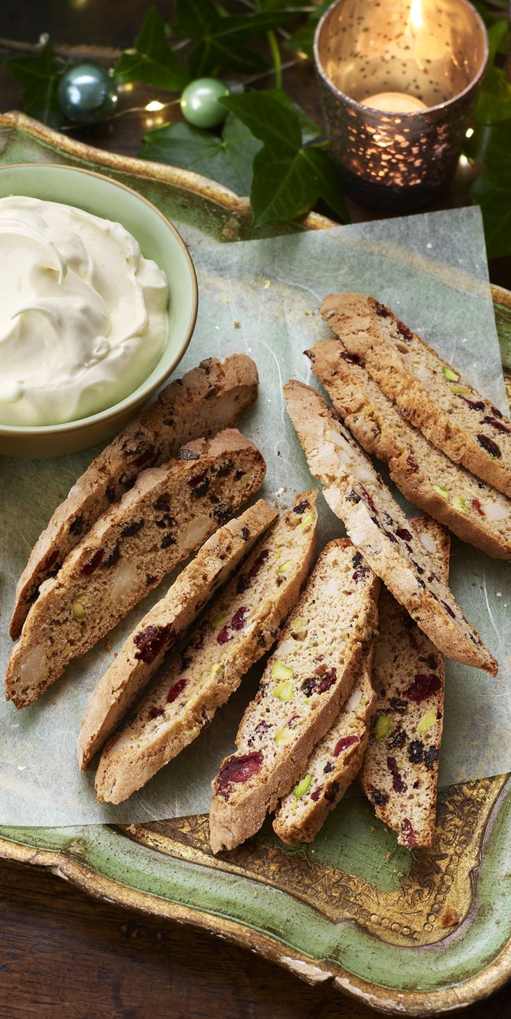 Nadiya's Christmassy spiced biscotti with pistachio and cranberry comes with a delectable dip if you're not into coffee.
