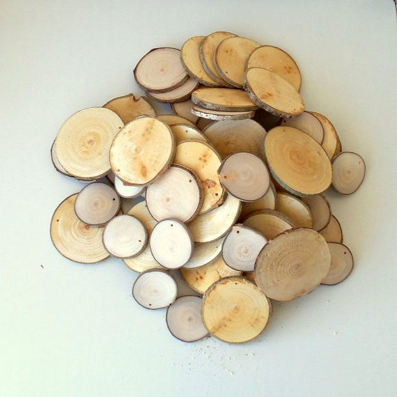 Wood Slices  2  4 inches in diam.  100 Blank White Tree