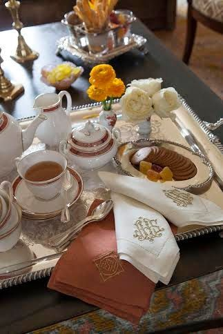 I love preparing tea & cookies, scones or dainty little sandwiches on a beautiful tray to serve family/friends when visiting them just like this...