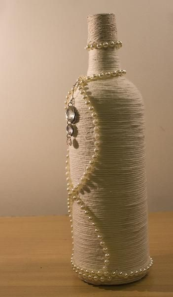 Ivory Decorative Rope Bottle - One off design