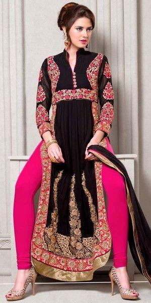 Lastest Black Georgette Anarkali Suit With Dupatta.