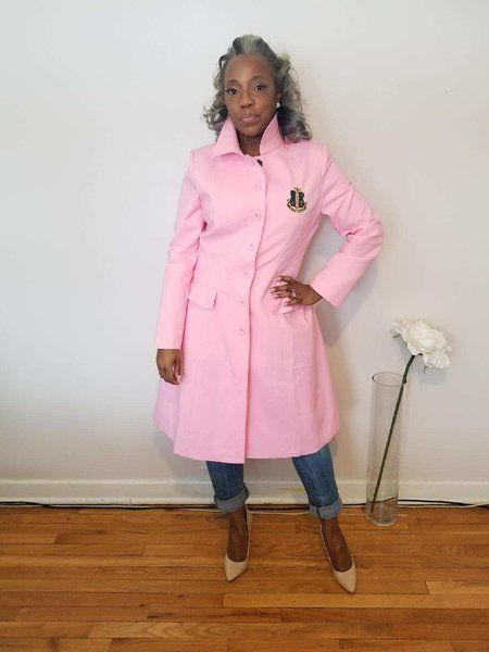 Alpha Kappa Alpha Trench Coat- PreSale ships in March | pink | white#coat#AKA