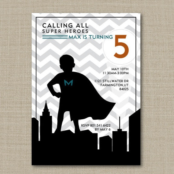 Super Hero Birthday invite