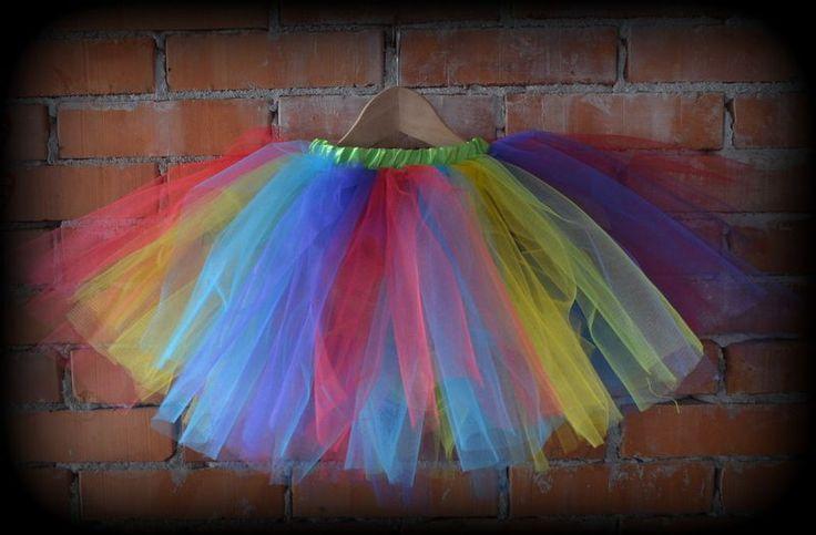 rainbow tulle skirt