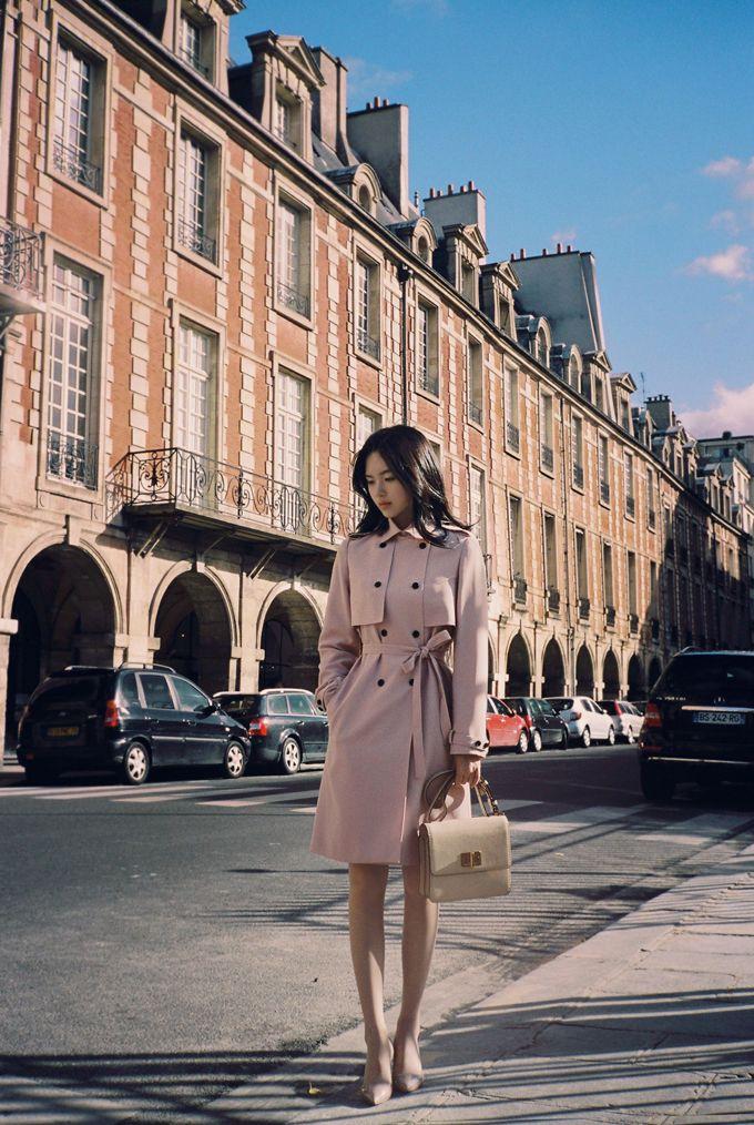 Korean fashion | pink coat