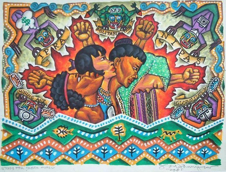 Oltre a mostrare l'impatto negativo causato dalla militarizzazione del territorio, il dipinto rappresenta l'ingiustizia delle leggi statali che discriminano le comunità etniche delle Filippine. Di Federico Boyd Sulapas Dominguez su sua autorizzazione.