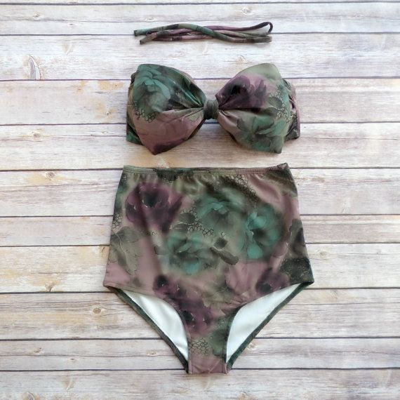 Bow Bandeau Bikini  Vintage Style High Waisted Pin-up by Bikiniboo