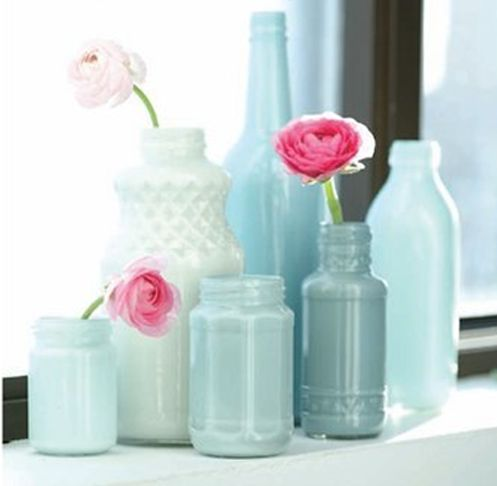 Painted display bottles: Paintings Mason Jars, Idea, Color, Paintings Vase, Paintings Bottle, Glasses Jars, Glasses Bottle, Old Bottle, Paintings Jars