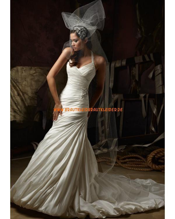 Extravagante Brautkleider im Meerjungfrauenstil mit langer Schleppe