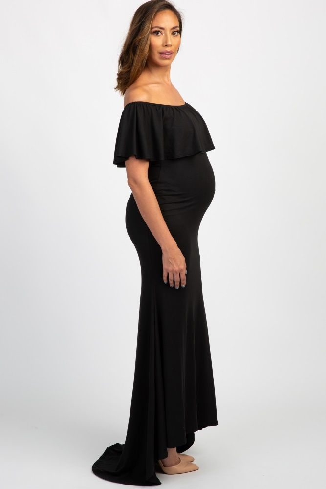 074004c480e7 Black Ruffle Off Shoulder Mermaid Maternity Photoshoot Gown Dress ...