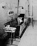 Otto Wagner's glass bathtub in his apartment Köstlergasse 3,  An impressed visitor was Adolf Loos and Josephine Baker.  The bathtub disappeared and no one knows what happened to it.