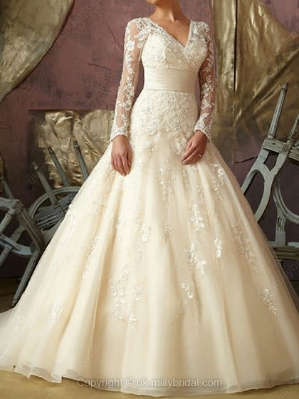 Ball Gown V-neck Lace Sweep Train Appliques Wedding Dresses -USD$333.75