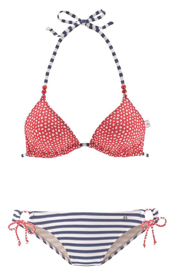 S.Oliver RED LABEL Triangel-Bikini in Marine / Cranberry / Weiß bei ABOUT YOU bestellen. ✓Versandkostenfrei ✓Zahlung auf Rechnung ✓kostenlose Retoure