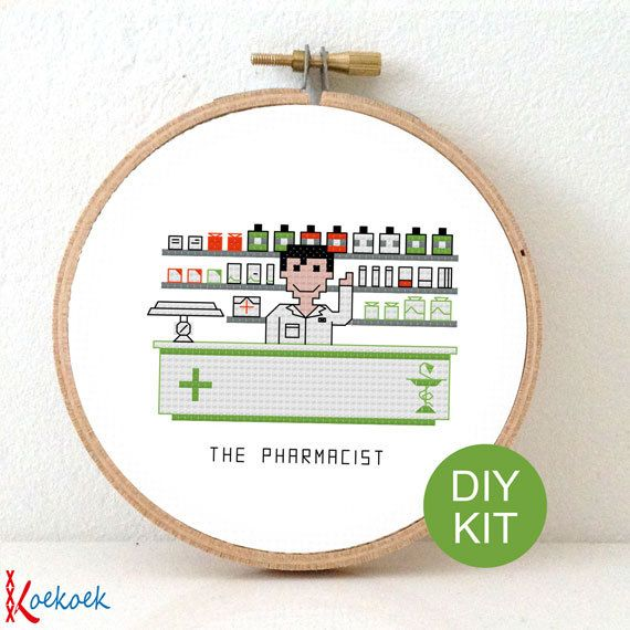 Cross Stitch Kit Pharmacist. Gift for pharmafan. DIY by koekoek